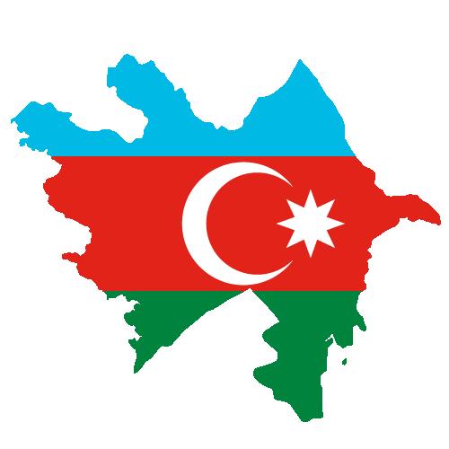 Azerbaijan Flag & map