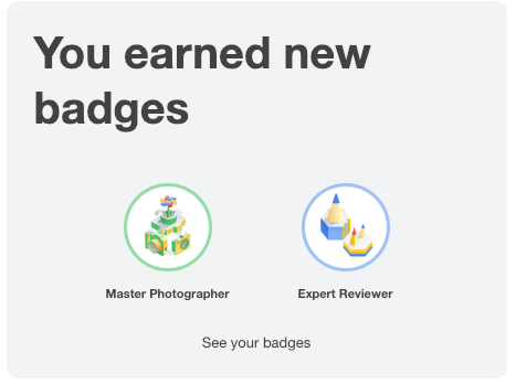 earned new badge by local guide