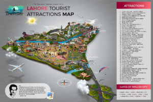 New Lahore Tourist Attractions Map by Assam Artist