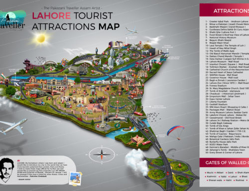 Lahore First Tourist Attractions Map with 50 Discovered Places by Assam Artist