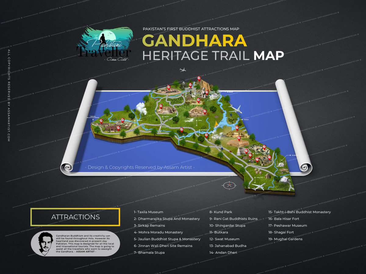 Gandhara Buddhist Tourist Attrations map of Pakistan