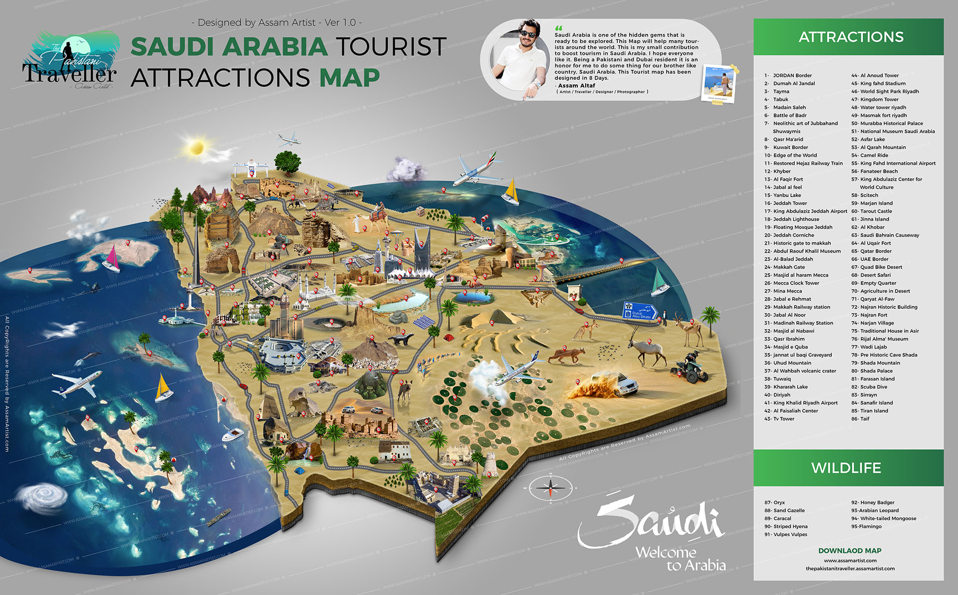 Saudi Arabia Tourist attractions map