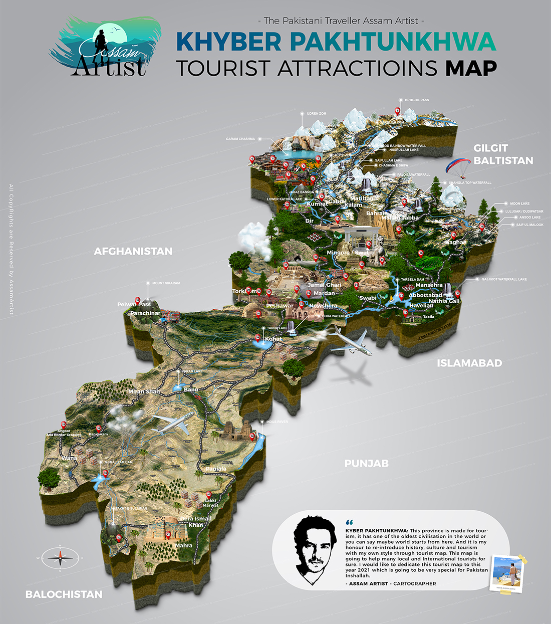 Khyber Pakhtunkhwa Tourist Attractions map by assam altaf artist